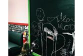MOOYAH Burgers Fries and Shakes restaurant chalkboard - family and kid friendly