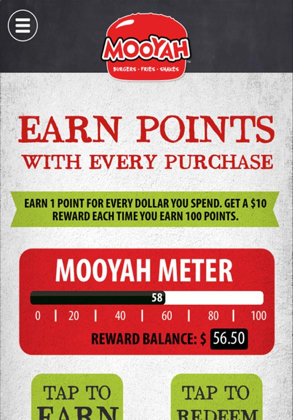 Earn Points for a free burger - use the mooyah coupon code